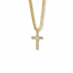 13/16 Inch Two-Tone 14K Gold Over Sterling Silver Rope Cross Necklace