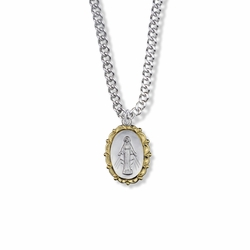 13/16 Inch Two-Tone Sterling Silver Decorative Border Oval Miraculous Medal