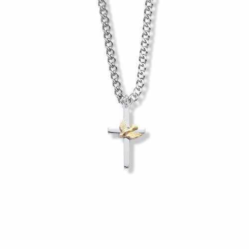 13/16 Inch Two-Tone Sterling Silver Dove on Cross Necklace