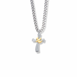 13/16 Inch Two-Tone Sterling Silver Dove on Ribbon Cross Necklace