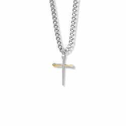13/16 Inch Two-Tone Sterling Silver Nail Cross Necklace