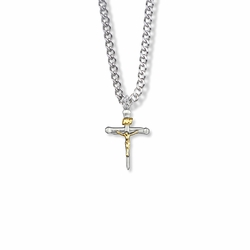 13/16 Inch Two-Tone Sterling Silver Nail Crucifix Necklace