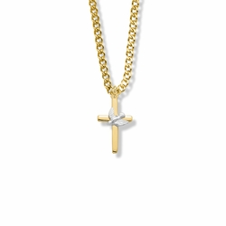 13/16 Inch Two-Tone14K Gold Filled Dove on Cross Necklace