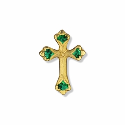 13/16 x 9/16 Inch Gold Emerald Cross Lapel Pin
