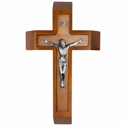 13 Inch Wood Sick Call Crucifix Set with Antiqued Gold Pewter Corpus