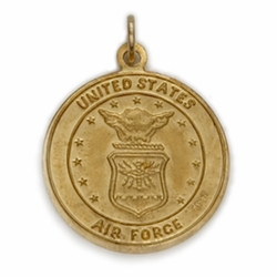 14KT Gold Air Force Medal with St. Christopher on Back