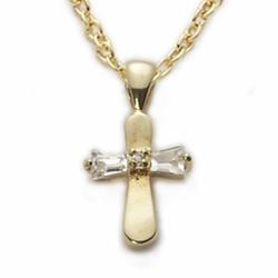 14K Gold Filled Baby Cross Necklaces in a CZ Baquette Stone Design