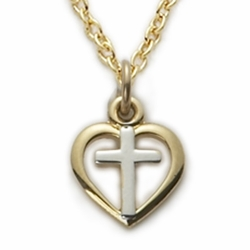 14K Gold Filled Cross in a 2-Tone Baby Heart Design