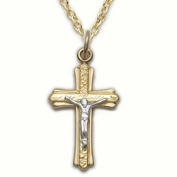 14K Gold Filled Cross Necklace in a 2-Tone and Brushed Finish Design