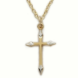 14K Gold Filled Cross Necklace in a 2-Tone Pointed Ends Design