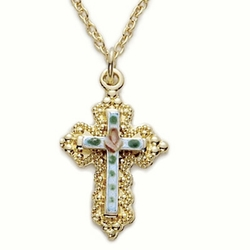 14K Gold Filled Cross Necklace in a Filagree and White Enameled Inner Cross with Rose Design