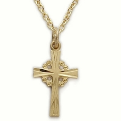 14K Gold Filled Cross Necklace in a Filigree and Engraved Design