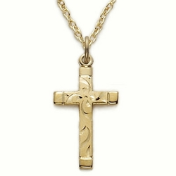 14K Gold Filled Cross Necklace in an Engraved Design