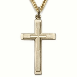 14K Gold Filled Cross Necklace with a Inner Cross Design