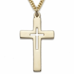 14K Gold Filled Cross Necklace with a Piereced Inner Cross Design