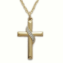 14K Gold Filled Cross Necklace with a Silver Sash Design