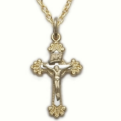 14K Gold Filled Crucifix Necklace in a 2-Tone Budded Ends Design