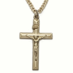 14K Gold Filled Crucifix Necklace in a Bevelled Design