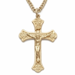 14K Gold Filled Crucifix Necklace in a Budded Ends Design