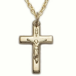 14K Gold Filled Crucifix Necklace in a Polished Finish Design