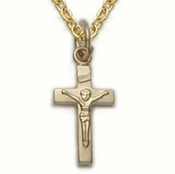 14K Gold Filled Crucifix Necklace in a Satin Finish