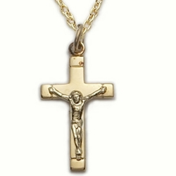 14K Gold Filled Crucifix Necklace in a Satin Finish and Polished End Design