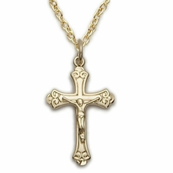 14K Gold Filled Crucifix Necklace in a Scroll Ends Design
