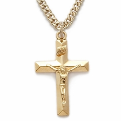 14K Gold Filled Crucifix Necklaces in a Bevelled Design