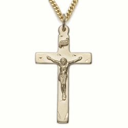 14K Gold Filled Crucifix Necklaces in a Polished Finish and Engraved Design