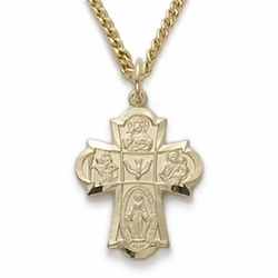 14K Gold Filled Engraved Satin Four Way Medal Cross Necklace