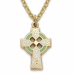 14K Gold Filled Green Enameled Baby Celtic Cross