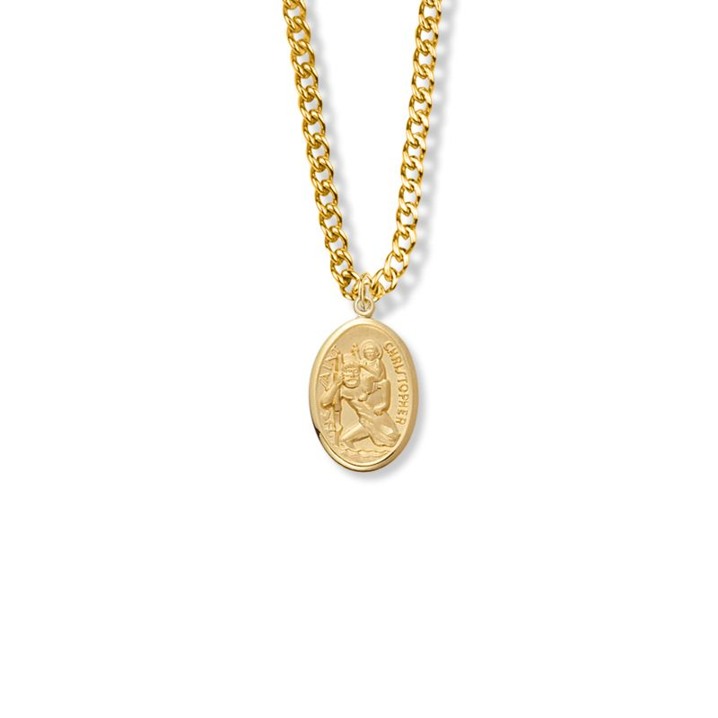 14KT Gold Filled Saint Christopher Swimming Sports Athlete Medal 3//4 Inch