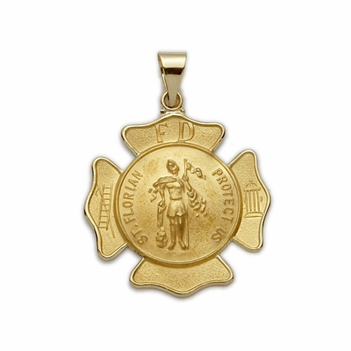14K Gold Large Shield St. Florian Patron of Fire Fighters (Hollow Medal)