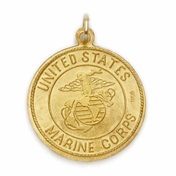 14K Gold Marine Medal with St. Christopher on Back