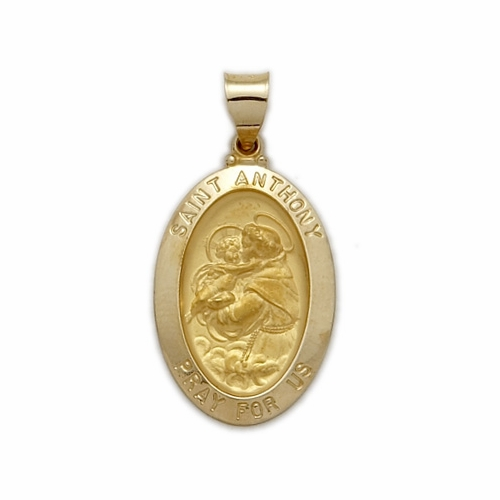14K Gold Oval St. Anthony Medal, Patron of Lost Articles (Hollow Medal)