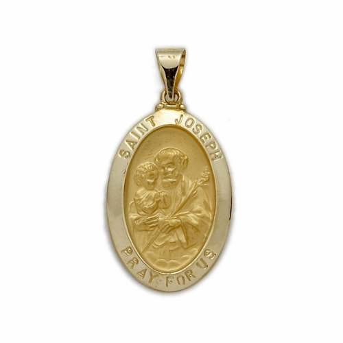 14K Gold Oval St. Joseph Medal, Patron of Carpenters (Hollow Medal)