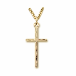 7/8 Inch 14K Gold Plated Over Sterling Silver Diamond Engraved Stick Cross Necklace
