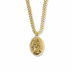 15/16 Inch 14K Gold Filled Oval St. Christopher Medal, Patron of Travelers