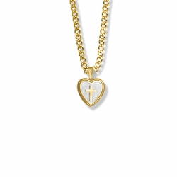 15/16 Inch 14K Gold Over Sterling Silver Cross and Mother of Pearl Heart Locket Necklace