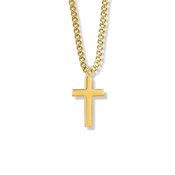 15/16 Inch Brass Gold Plated Boy First Communion Cross Necklace