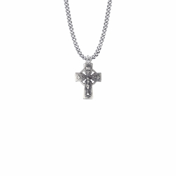 15/16 Inch Pewter Pierced Celtic Crucifix Necklace