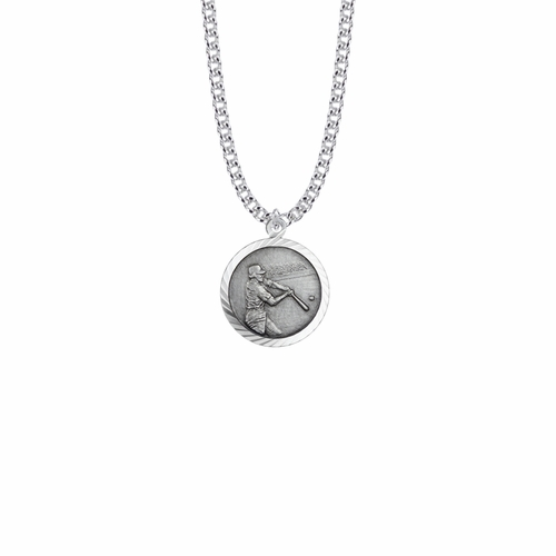 15/16 Inch Round Sterling Silver Boy's Baseball Player Medal with St. Christopher on Back
