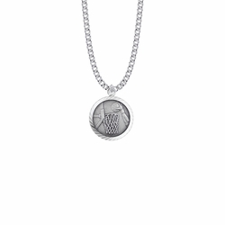 15/16 Inch Round Sterling Silver Boy's Basketball Medal with St. Christopher on Back