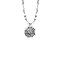 15/16 Inch Round Sterling Silver Boy's Basketball Player Medal with St. Christopher on Back
