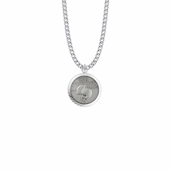 15/16 Inch Round Sterling Silver Boy's Football Medal with St. Christopher on Back