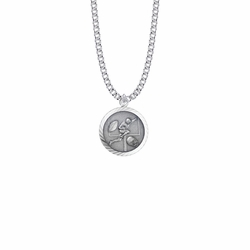15/16 Inch Round Sterling Silver Boy's Football Player Medal with St. Christopher on Back