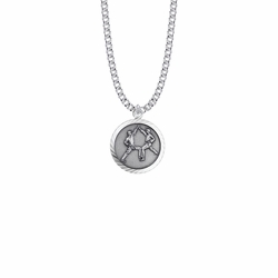 15/16 Inch Round Sterling Silver Boy's Karate Medal with St. Christopher on Back