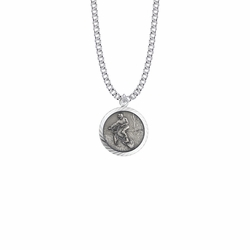 15/16 Inch Round Sterling Silver Boy's Off Road Biker Medal with St. Christopher on Back