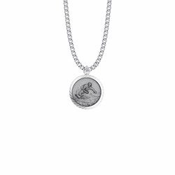 15/16 Inch Round Sterling Silver Boy's Snowboarding Medal with St. Christopher on Back