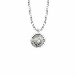 15/16 Inch Round Sterling Silver Boy's Soccer Medal with St. Christopher on Back